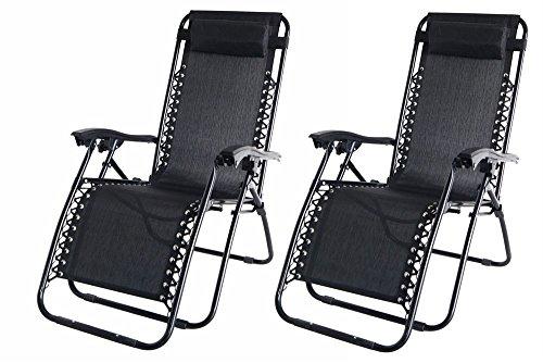 Set von 2Garden Sonnenliege Relaxer Liege Stühle–in schwarz wetterfest Textoline