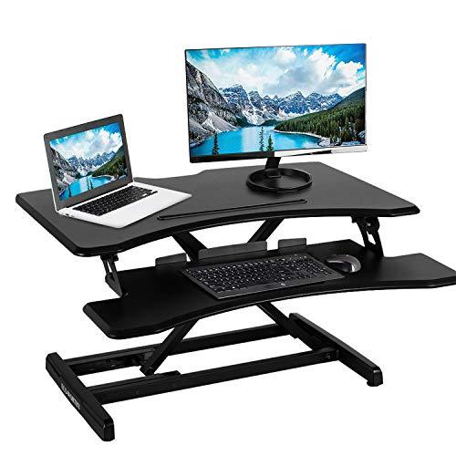 DCHOUSE Höhenverstellbarer Steh-Tischkonverter Sitzen zum Stehen Gasfeder-Riser 31 '' Tischplatte mit Tastaturablage für Zwei Monitore - Stand Adjustable Keyboard Tray