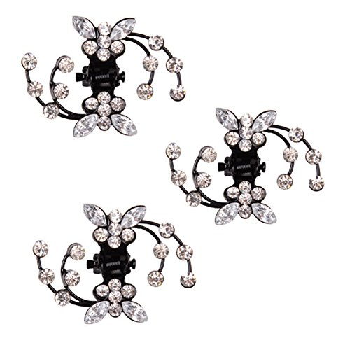 Belle bijoux filles fleurs clips cheveux Mini, 6 comte, Blanc