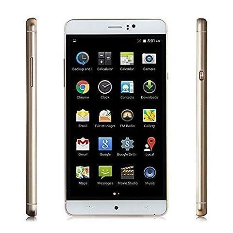 [ Edition Dernière ] Padgene® Smartphone Débloqué 3G (Ecran : 6 pouces - Quad Core - 4 Go - 2 & 2 MP Caméras- Dual SIM - Android 5.1 Lollipop) pour Orange, SFR, Bouygues, Virgin, Free ISYS, Lebara, Numèricable etc, Or