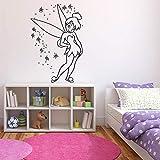 Tianpengyuanshuai Stickers muraux Enfants Chambre fée Mignon Fille décoration de la Maison Maternelle Adolescent Chambre Mur Vinyle Autocollant Mural 57x38 cm
