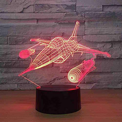 BJDKF Aviones Lámpara De Mesa De Luz Nocturna 3D Avión De Reacción ...