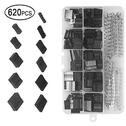 620 Stück 2,54 mm Pitch 1 2 3 4 5 6 Pin JST SM Gehäuse-Steckverbinder Dupont-Buchsen-Buchsenleiste Crimp-Anschluss-Steckverbinder-Sortiment-Kit Mit Durchsichtiger Kunststoffbox - Crimp-anschlüsse