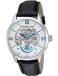Stührling Original 574.01 - Reloj automático para hombre, correa de cuero, color negro