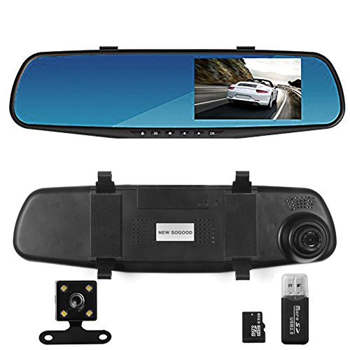 Auto Dual Dash Cam Car Video Recorder DVR Dual Lens Front & Reversing Kamera Video Aufnahme mit LCD HD Blau Bildschirm Vehicle Rückspiegel (Dvr Dash Cam Video Recorder)