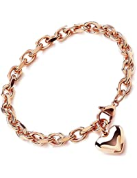 Theia Stainless Steel Rose Gold Coloured Rolo Chain Heart Charm Bracelet of 23 cm