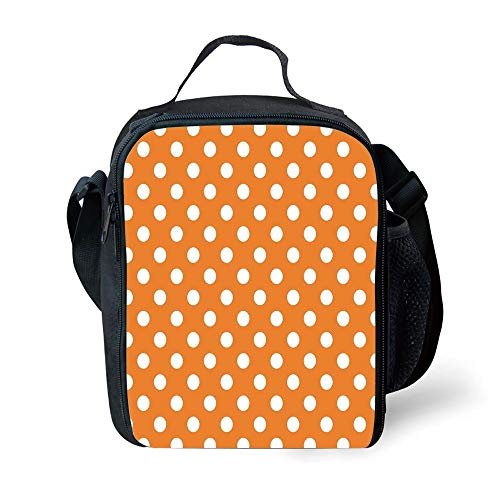ZKHTO School Supplies Polka Dots,Classic Old Fashioned Polka Dots Continuous in Spacing and Shape 20s Design,Orange White for Girls or Boys Washable Palm Double Old Fashioned