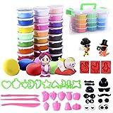 Kinderknete 24 -er Pack Knet-Set Modelliermasse und 43 Knetwerkzeug Teig Plastilin Werkzeuge, Aufbewahrungskiste für Kinder Kreatives Spielen und als Geschenk