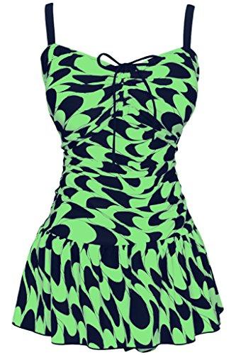 Damen Retro Paisley Badekleid Große Größen Einteiliger Badeanzug Bauchweg Bademode, Größe DE 46/Etikettengröße 58, Farbe Smaragdgrün