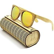 Coface annata di modo da esterno in legno Occhiali da sole UV400 degli occhiali da sole unisex di colore giallo