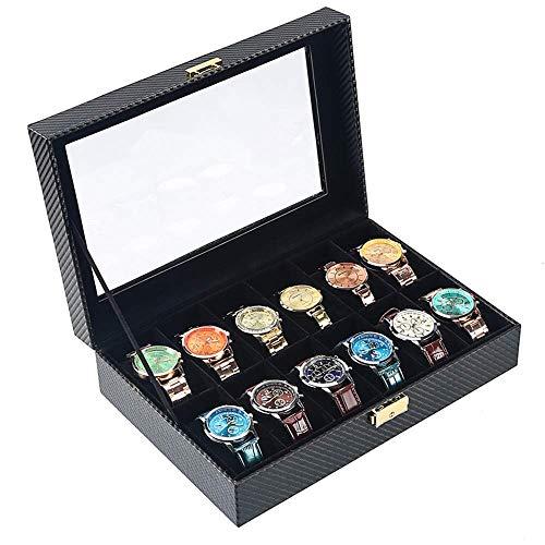 KOSHSH Kohlenstoff Faser Uhrensammler Box, 4/6/10/12 Grid Leder Uhren Aufbewahrungsvitrine Mit Glas Metallverschluss Ideal Für Männer Frauen, 12 Slots