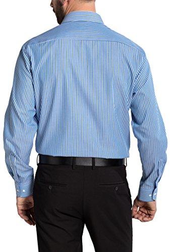 Eterna Long Sleeve Shirt Comfort Fit Textured Weave Striped Blu/Bianco