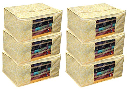 Prem Industries Heavy Quality Non Woven Designer Saree Cover/Wedding Sarees Lahenga Cover/Wardrobe Organiser Bag Gold Printed (with Zip Lock) Golden Colour Set of 6 Pcs (9\ inches Hight)
