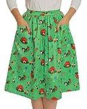 Lindy Bop Adalene Green GNOME Print Swing Skirt
