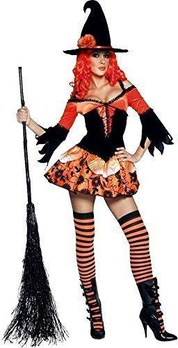 Damen Schwarz Orange Sexy Halloween Böse Hexe Kostüm Kleid Outfit - Orange und schwarz, S/M(UK 8-10)