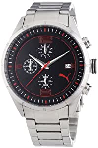 Puma Time Herren-Armbanduhr XL Driver Chrono Metal- L Silver Chronograph Quarz Edelstahl PU102621004