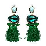 lureme Women Bohemia etnico Grande Stones/Thread Stud Far cadere Dangle Tassels Orecchini-verde(er005679-6)
