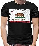 California/Californie Drapeau Style Grunge - T-Shirt pour Homme - Noir - S