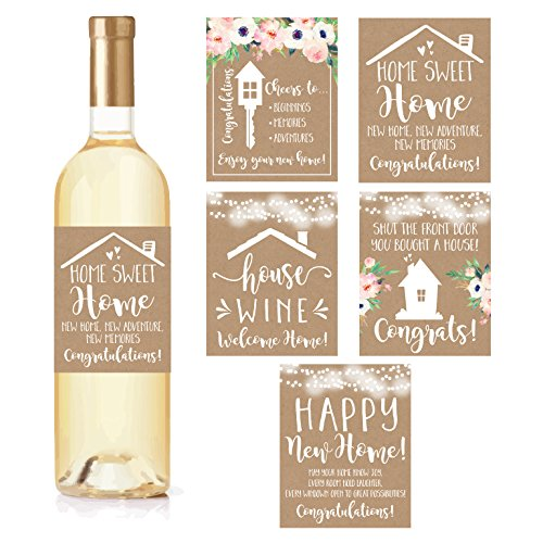 5Rustikales Haus Erwärmung, neue Hauseigentümer Aufkleber oder Wein Label Geschenk Set Ideen, Congrats