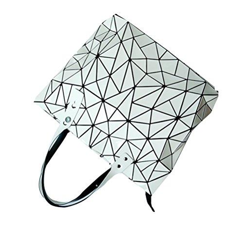 Honeymall Borse Donna Bag Laser?borse tote donna Pieghevole Geometria Griglia di ling Bianca Bianco