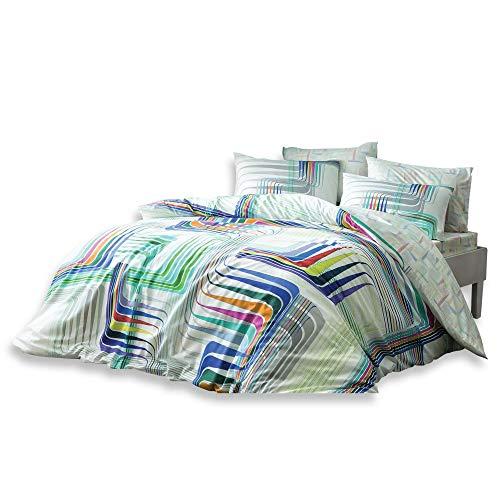 Moderne Gestreift Streifen Illusion Bettwäsche-Set, Baumwolle und Bambus-Mischgewebe, doppelte Größe, 4-teilig -