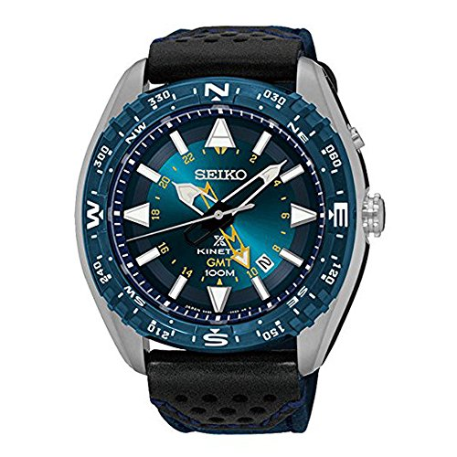 Seiko sun059Herren Prospex Kinetic GMT Edelstahl Nylon/Leder Band Blau Zifferblatt Armbanduhr