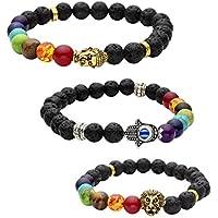 JOVIVI 3x Lava-Armband Buddha-Kopf/Hamsa Hand/Löwe-Kopf Reiki-Energietherapie Armreif 7 Chakra Healing Buddha-Armband preisvergleich bei billige-tabletten.eu