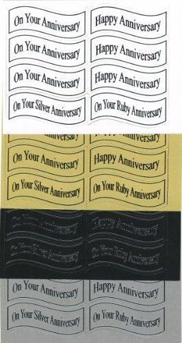 80assortiti die-cut Banner sul vostro anniversario (a) -- Oro e Argento Foil scrittura