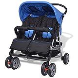 Best Double Strollers - vidaXL Baby Twin Stroller Steel Blue and Black Review