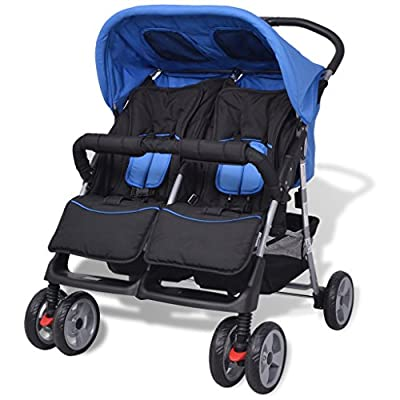 vidaXL Baby Twin Stroller Steel Blue and Black