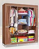 Evana 4.1 feet (coffee curtain) Folding Wardrobe Cupboard Almirah Foldable Storage Rack Collapsible Cabinet