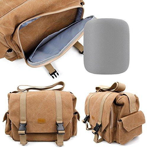 Sac toile de coton couleur sable pour HomePod d'Apple enceinte connectée - compartiments modulables, par DURAGADGET