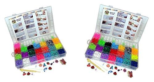 12000 Teile XXL Loom Starter Kit Set Bänder Bandz Gummibänder mit Charms Anhänger Webrahmen Haken S-Clips NEU