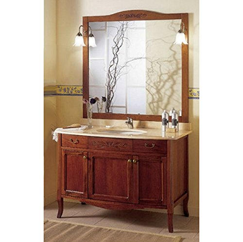 Arredo da bagno cm 116 mobile con lavabo sottopiano arte povera mobili specchio con applique top in marmo i