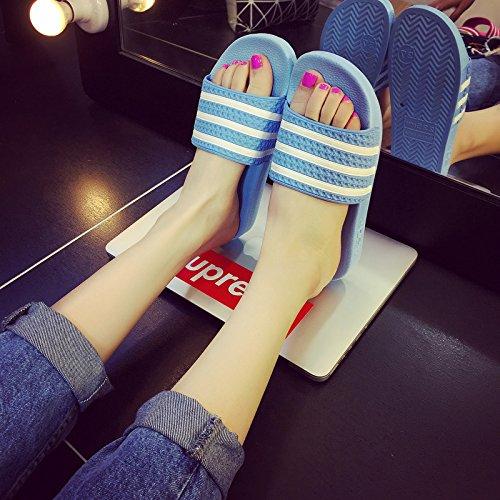 DogHaccd pantofole,Maschio e femmina estate estate bagno pantofole ciabatte da bagno incantevole coppie di striature di camera, soggiorno casa cool pantofole Blu cielo2