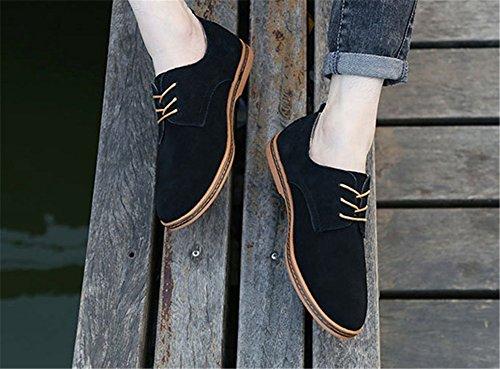 Wealsex Chaussures de ville à Lacet Chaussure Basse Cuir Suédé Casual Homme Noir