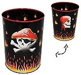 Papierkorb Pirat Totenkopf - Metall - Mülleimer Eimer - Aufbewahrungsbox für Kinder Jungen - Schatztruhe / Abfallbehälter / Abfalleimer Kinderzimmer - Piraten Seefahrer