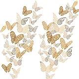 72 Piezas 3D Mariposas Pegatinas de Pared Adornos de Pared Decoración de Arte Juego de Pegatinas 3 Tamaños para Habitación Casa Guardería Aula Oficinas Dormitorio de Niño Niña Baño Sala (Dorado)