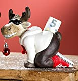 Gilde Spardose Rentier Elch kniend mit Weihnachtskugel im Maul und Brille mit Schlüssel