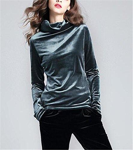 Gogofuture Femme ElÉGant Sweaters à Manches Longues Casual Blouse Turtle Neck Pullover Hauts Lâche Soft Tops Grey