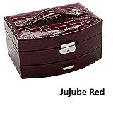 J.Me.Mi Schmuck Ornament Box Aufbewahrungskiste Abschließbar Tragbar Kosmetikkoffer Zum Heiraten Geburtstag Geschenk Freundinnen,Jujubered