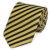 Fabio Farini dynamische schwarz-gelb gestreifte 8 cm Krawatte, Buisness, Anzug-Krawatte