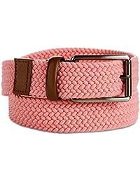 Perry Ellis Men's Webbed Stretch Canvas Leather-Trim Belt Pink 40/100