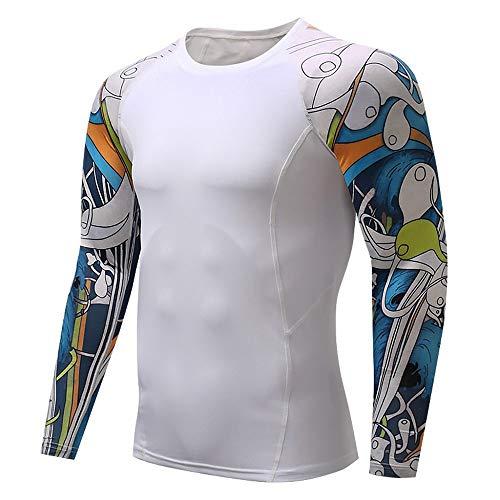Herren Pullover Weiß Kompressionsshirt Fitness Compression Shirt Schnell Trocknend Funktionsshirt Cool Trainingsshirt Base Layer Running T-Shirt Jogging Sport Laufshirt für Männer Muskelshirt
