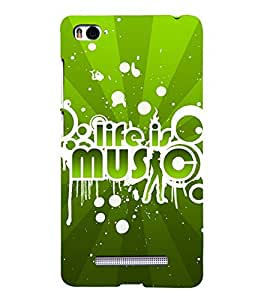 Fuson Premium Back Case Cover Life is music With Yellow Background Degined For Xiaomi Redmi Mi4i::Xiaomi Mi 4i
