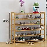 ZSHxj Schuhständer Bambus Regale Multi - Layer Staub - Feste Massivholz Schuhständer Montage wirtschaftliche Regale Hause Wohnzimmer Schuhschrank (Größe : 100cm)