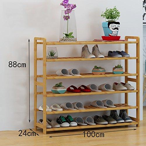 ZSHxj Étagères en Bambou étagères en Bambou étagères à Bas Prix en Bois Massif en Bois Massif étagères économiques étagères économiques Salon de la Maison Armoire à Chaussures (Taille : 100cm)