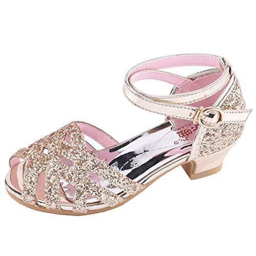 AIni Schuhe Baby Mode Beiläufiges 2019 Neuer Kleinkind Kinder Mädchen Bling Pailletten Single Prinzessin Schuhe Sandalen Tanzschuhe Krabbelschuhe Kleinkinder Schuhe Lauflernschuhe(32,Gold)