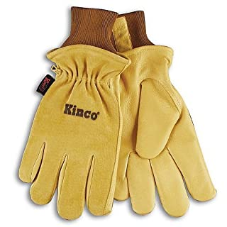 KINCO 94HK-S Men's Lined Grain Suede Pigskin Gloves, Heat Keep Lining, Small, Golden by KINCO INTERNATIONAL