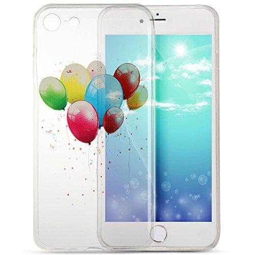 Coque iPhone 7, Étui iPhone 7, iPhone 7 Case, ikasus® iPhone 7 Clair Cristal Transparent TPU avec Coloré peinte Coque Housse Doux TPU Silicone Étui Housse Téléphone Couverture TPU Ultra Mince Premium  Ballon coloré